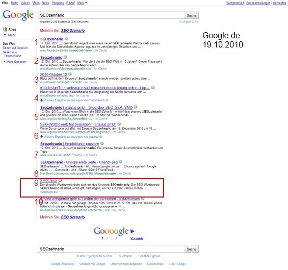 SEOzehnario bei Google.de