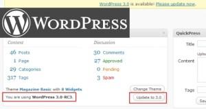 Update Angebot von 3.0 beta auf WordPress 3.0